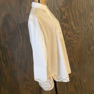 Derek Lam New York white studded boyfriend shirt